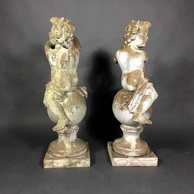 Italian Pair of Puti Garden Statues, Composite Material, 20th Century For Sale - Image 3 of 11