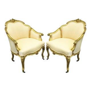 19th Century Napoleon III Giltwood Bergères - A Pair For Sale
