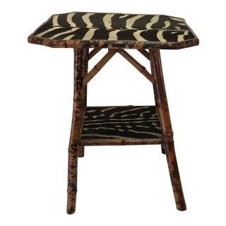 English Bamboo W/ Zebra Skin Table