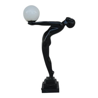 Art Deco Female Figure Statue Lamp For Sale