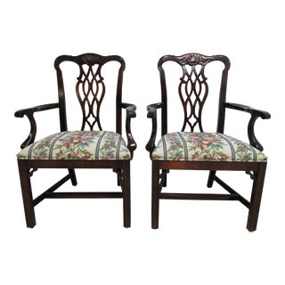 Modern Custom Mahogany Chippendale Kindel Style Carved Dining Room Dining Arm Chairs- A Pair For Sale
