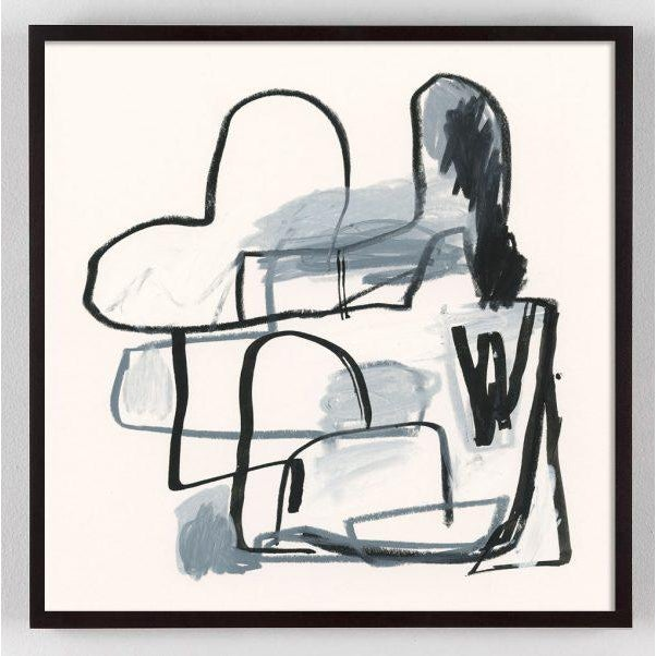 A series of Black and White Abstract paintings characterized by organic shapes, dynamic linework, and scumbled brush...