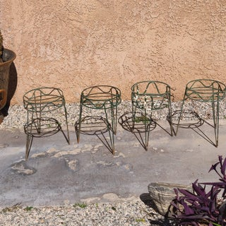 Vintage Forest Green Peg Legged Metal Wire Plant Stands - Set of 4 Preview