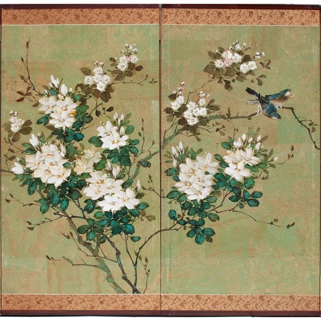 Asian Early 20th Century Japanese Four Panel Byobu Screen For Sale - Image 3 of 13
