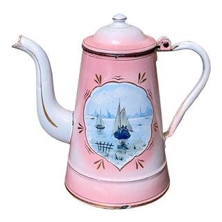 Vintage Enameled Coffee Pot For Sale
