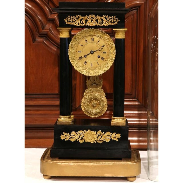 19th Century French 4-Columns Empire Mantel Clock with Original Glass Dome For Sale - Image 4 of 9