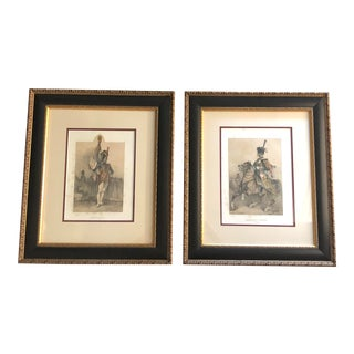 "Framed Antique ""Napoleon Soldiers"" Color Lithographic Prints by Auguste Bry of Paris, France - a Pair For Sale"