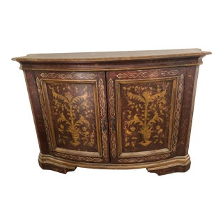 Rustic Burgundy Hand Painted Santa Ynez Cabinet For Sale