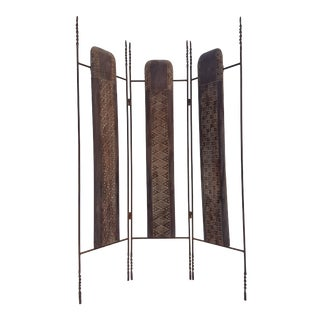Vintage Metal & Carved Wood Panels Room Divider Screen For Sale