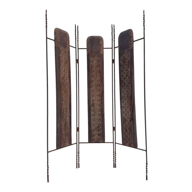 Vintage Metal & Carved Wood Panels Room Divider Screen For Sale