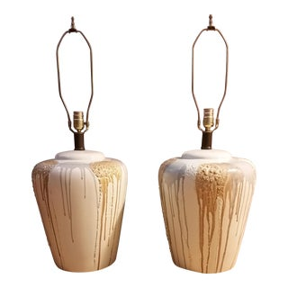 1970s Organic Modern Ginger Jar Table Lamps - a Pair
