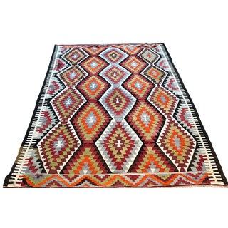 Boho Chic Wool Kilim Area Rug - 5′2″ × 7′ For Sale