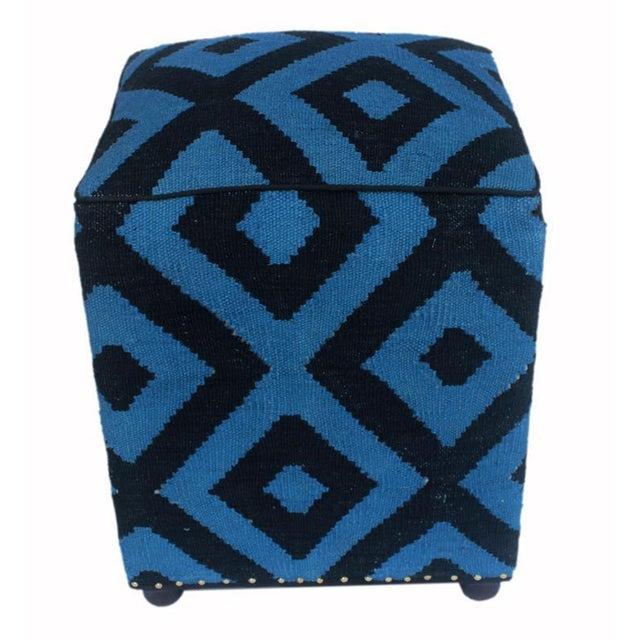 Wood Shabby Chic Arshs Deloris Lt. Teal/Black Kilim Upholstered Handmade Ottoman For Sale - Image 7 of 8