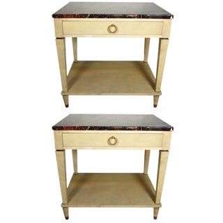 Pair of Stamped Maison Jansen Parchment End Tables For Sale