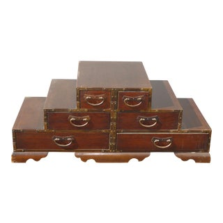 Vintage Oriental Asian Table Top Six Drawer Jewelry Box Trinket Cabinet For Sale