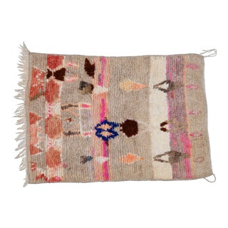 Moroccan Boho Chic Modern Hand Made Wool Rug - 3′7″ × 5′2″ For Sale