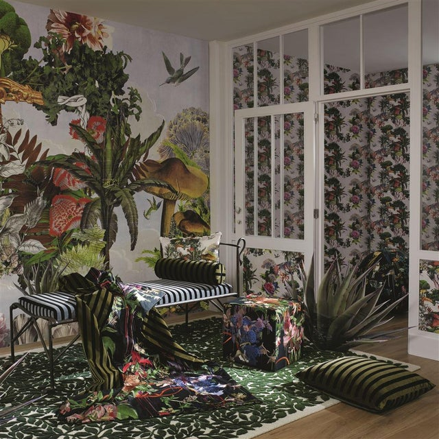 A dream-like depiction of a fantastical garden in a grand scale by Christian Lacroix. With serene open skies, photographic...