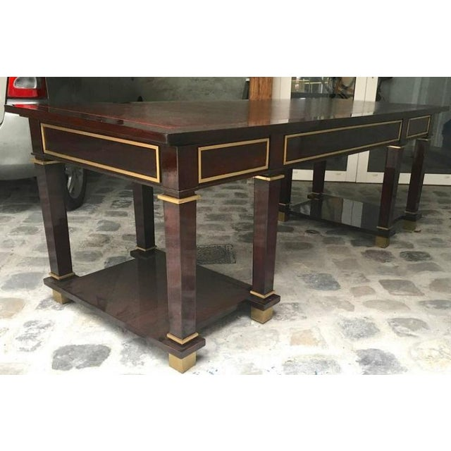 Mid-Century Modern Jacques Adnet Exceptional Neoclassic Large President Desk With Leather Top For Sale - Image 3 of 7