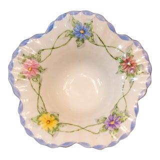 Vintage Floral Blue Hand Painted Porcelain Bowl, 1959