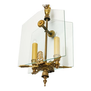 French Classic Brass and Glass Lantern For Sale