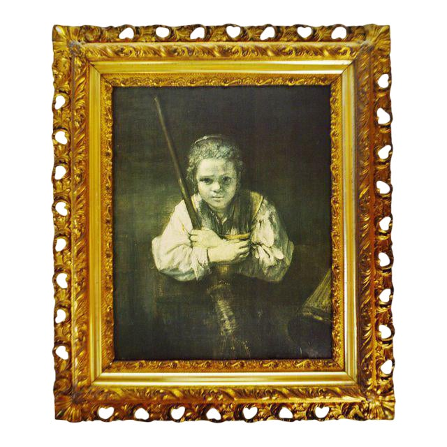 Antique Gilt Framed Rembrandt Girl With a Broom Textured Print on Panel For Sale