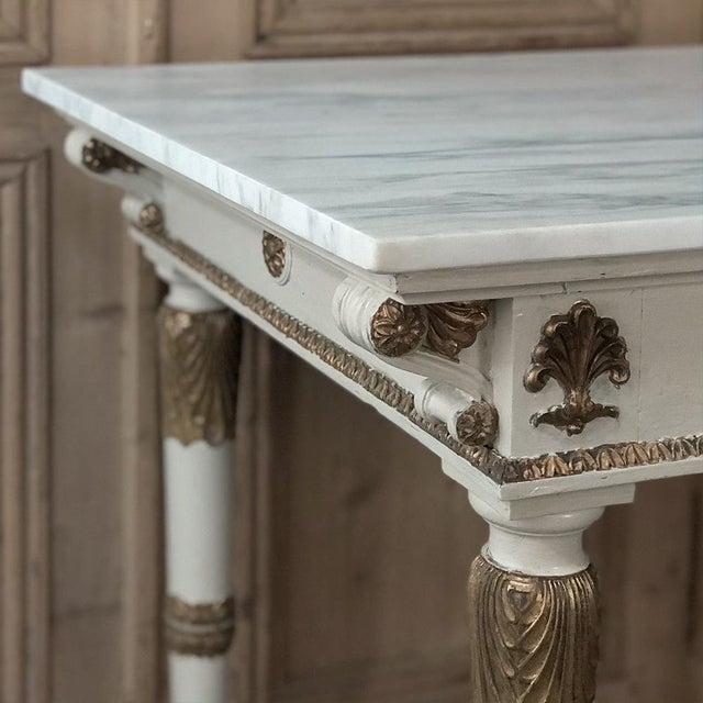 Carrara Marble 19th Century Italian Neoclassical Painted and Gilded Marble Top Center Table ~ Console For Sale - Image 7 of 12
