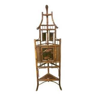 19th Century English Scorched Bamboo Corner Etagere