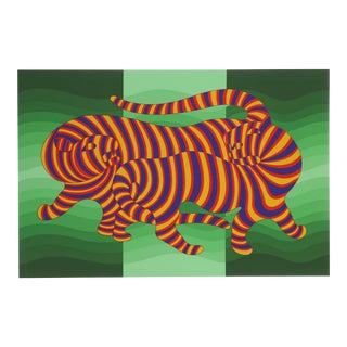 Two Tigers on Green by Victor Vasarely For Sale