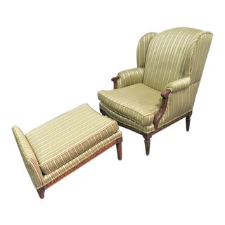 Louis XVI Carved Walnut Wing Chair & Ottoman For Sale