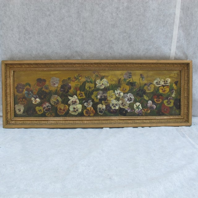 Framed Pansies Oil Painting - Image 2 of 10