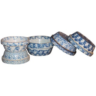 19th Century Sponge Ware Bake or Serving Pottery Bowls - Set of 5 For Sale