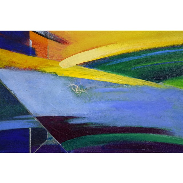 Yellow 1990s Abstract Geometric Oil Painting For Sale - Image 8 of 11