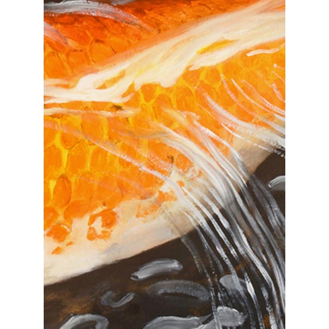 """Laurie Flaherty Laurie Flaherty """"Murmur"""" Contemporary Koi Fish Realist Oil Painting For Sale - Image 4 of 6"""