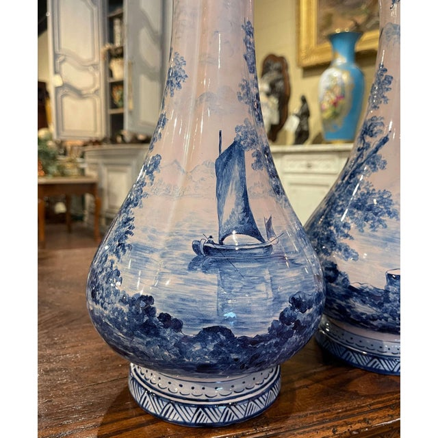 Pair of 19th Century French Delft Style Faience Vases With Blue and White Decor For Sale - Image 10 of 13