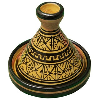 Moroccan Hand-Painted Ceramic Lidded Bowl For Sale