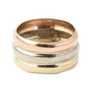 1980s Wide Tri-Color 18k Gold Single Band Ring For Sale