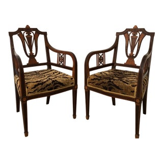 Edwardian Armchairs With Marquetry - a Pair For Sale