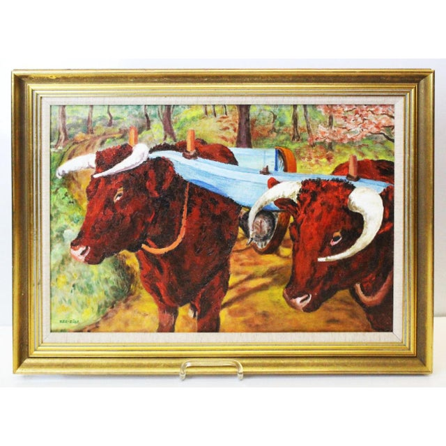 Canvas Ede-Else Oxen Oil Painting on Canvas For Sale - Image 7 of 7