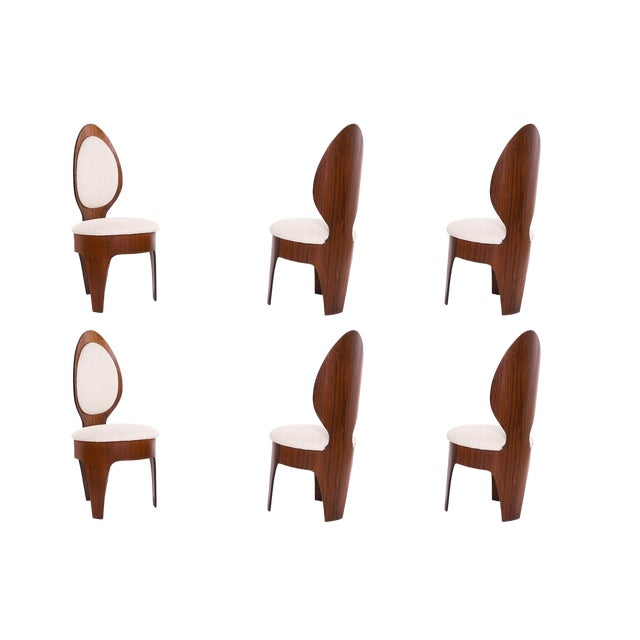 Henry Glass 'Spoon' Walnut Frame Dining Chairs - Set of 6 For Sale