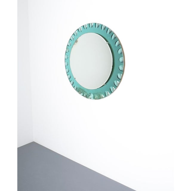 1960s Fontana Arte Attributed Wall Mirror Green Glass, Midcentury Italy For Sale - Image 5 of 8
