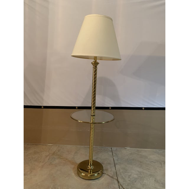 Vintage Hollywood Regency Twisted Brass and Glass Floor Lamp and Table With White Linen Shade For Sale - Image 11 of 11