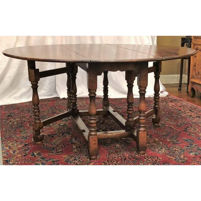 Brown English Drop Leaf Yew-Wood Round Table For Sale - Image 8 of 8