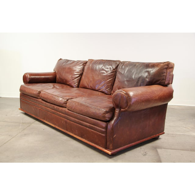 Traditional Vintage Ralph Lauren Leather Floating Sofa For Sale - Image 3 of 13