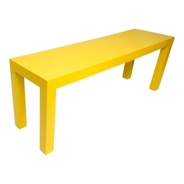 1970's Long Yellow Wooden Parsons Table For Sale