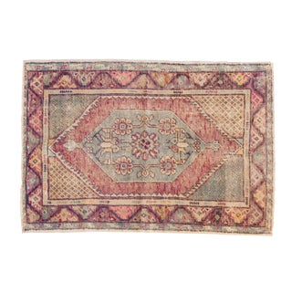 "Vintage Distressed Oushak Rug - 2'9"" X 4' For Sale"