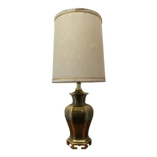 1970s James Mont Style Brass Jar Lamp W/ Greek Key Motif & Shade - a Pair For Sale