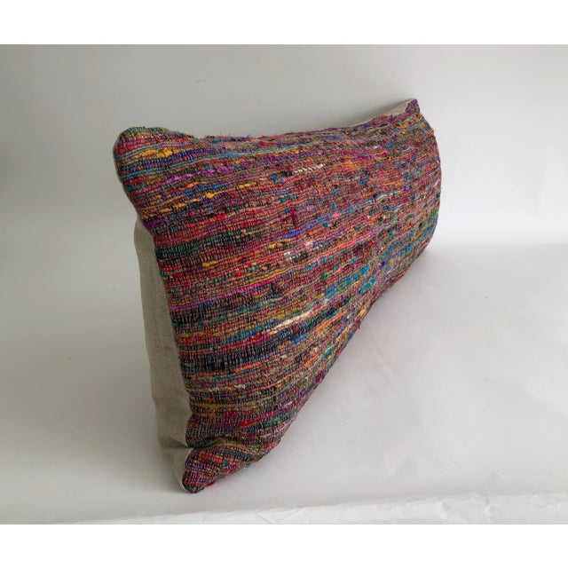Asian Hand-Woven Silk and Linen Pillow For Sale - Image 3 of 9