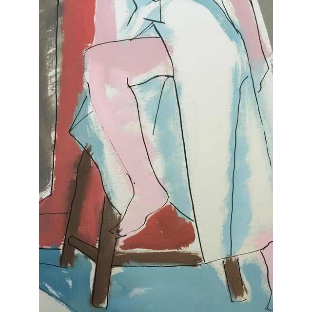 "Abstract C 1950s Bay Area Figurative Painting ""Slit"" For Sale - Image 3 of 6"