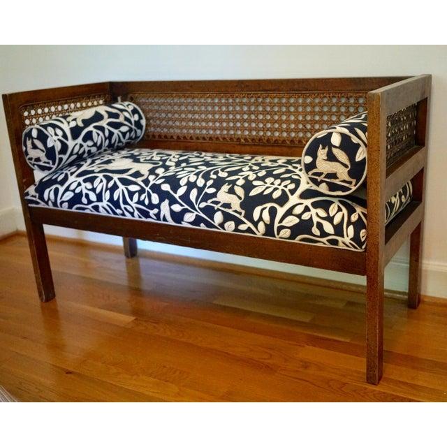 Robert Allen Mid-Century Robert Allen Upholstered Cane Settee For Sale - Image 4 of 13