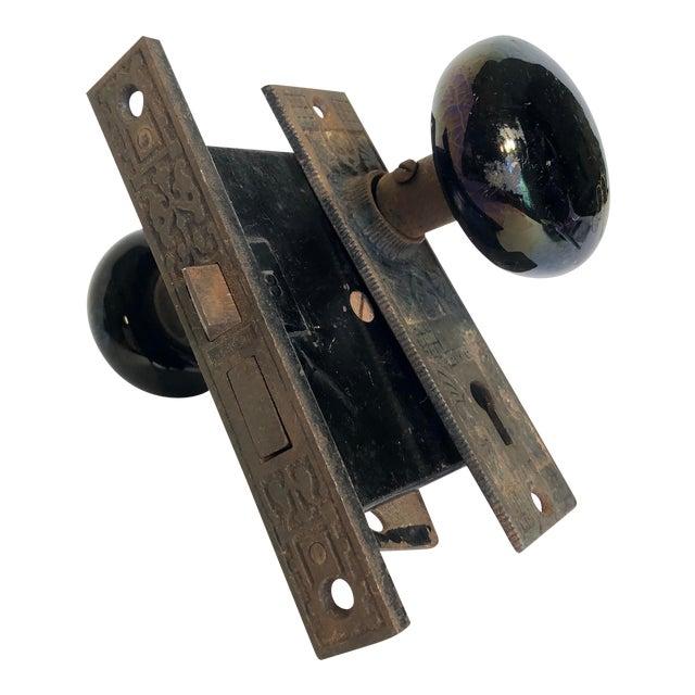Antique Art Deco Black Porcelain Door Knobs & Door Plates - a Pair For Sale